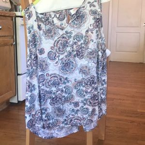 Renee C large patterned tank top with split back